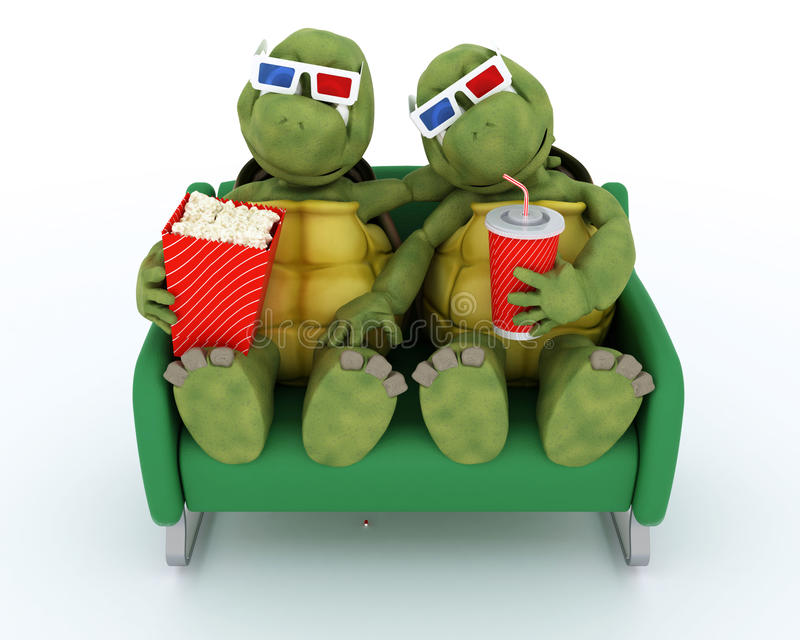 Sköldpaddor som håller ögonen på en film 3D royaltyfri illustrationer