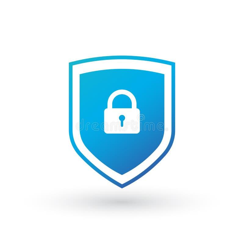 Sköldsäkerhet med låssymbol Skydd säkerhet, illustration för symbol för lösenordsäkerhetsvektor Tecken för Firewalltillträdesavsk vektor illustrationer