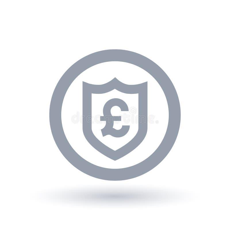 Sköldsymbol för brittiskt pund - Storbritannien valutasäkerhet ic vektor illustrationer