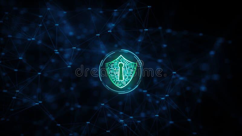 Sköldsymbol på säker globalt nätverks-, Cybersäkerhet och skydd för informationsnätverk, framtida teknologinätverk för affär royaltyfri illustrationer