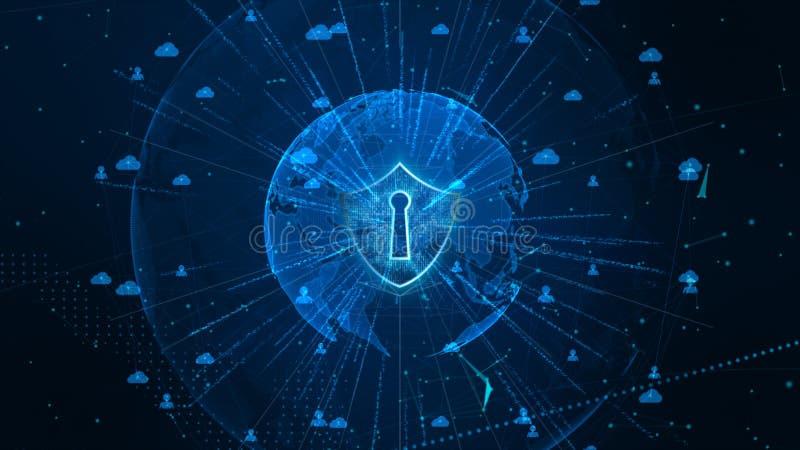 Sköldsymbol på säkert globalt nätverk, Cybersäkerhet och skydd av det personliga databegreppet Jordbest?ndsdel som m?bleras av Na royaltyfria bilder
