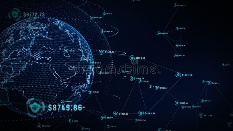 Sköldsymbol på säkert globalt nätverk, teknologinätverk och cybersäkerhetsbegrepp Skydd för världsomspännande anslutningar Jord royaltyfria bilder