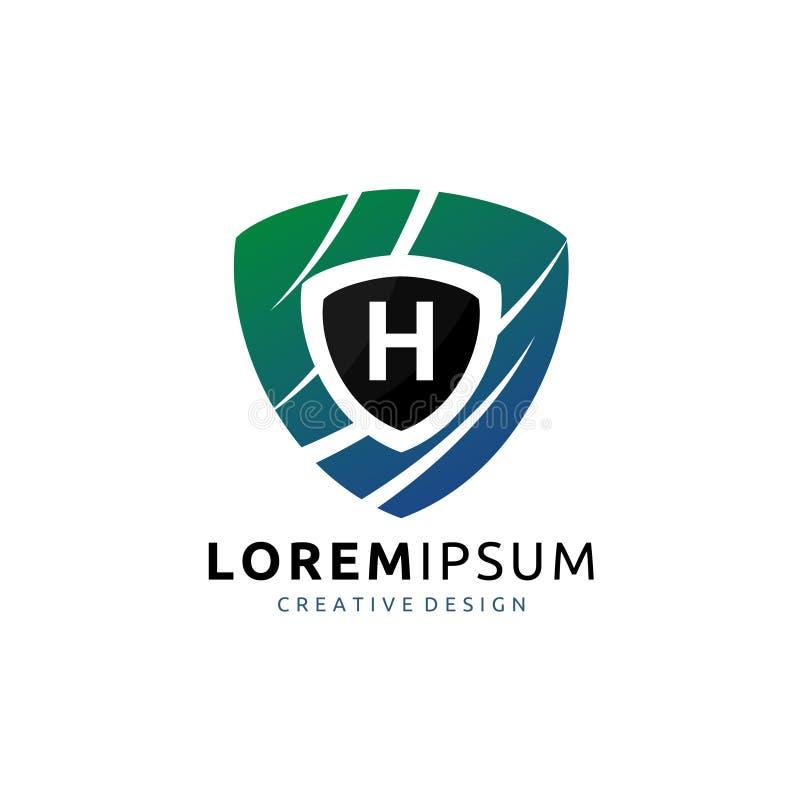 Sköldvakt H Letter Logo royaltyfri illustrationer