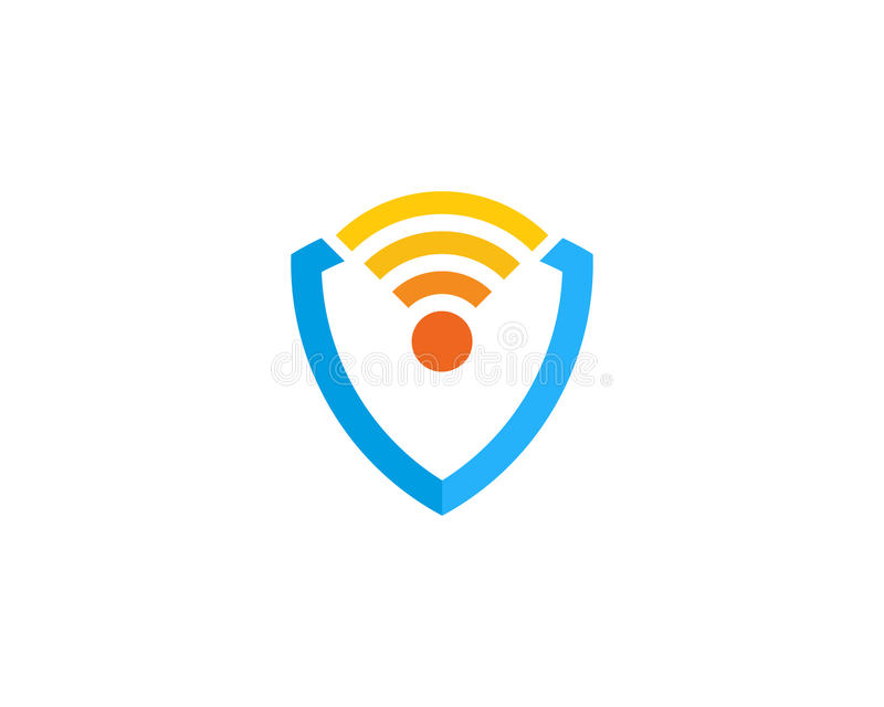 Sköldvakt Wifi Icon Logo Design Element stock illustrationer