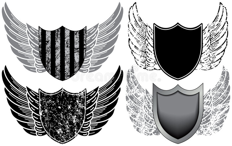 sköldvingar royaltyfri illustrationer