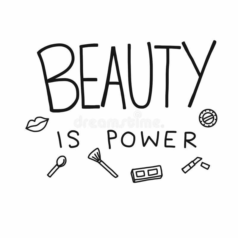 Skönhet är maktordet och den kosmetiska illustrationen för symbolsklotterstil vektor illustrationer