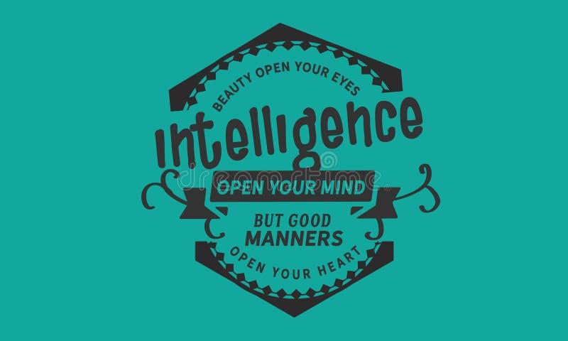 Skönhet öppnar dina ögon, intelligens öppnar din mening vektor illustrationer