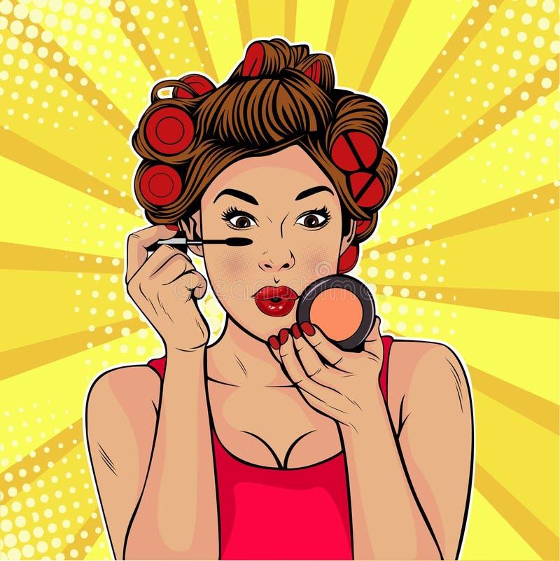 Skönhet för popkonst av framsidan Sminket kvinnaborste orsakar signalen till framsidan royaltyfri illustrationer