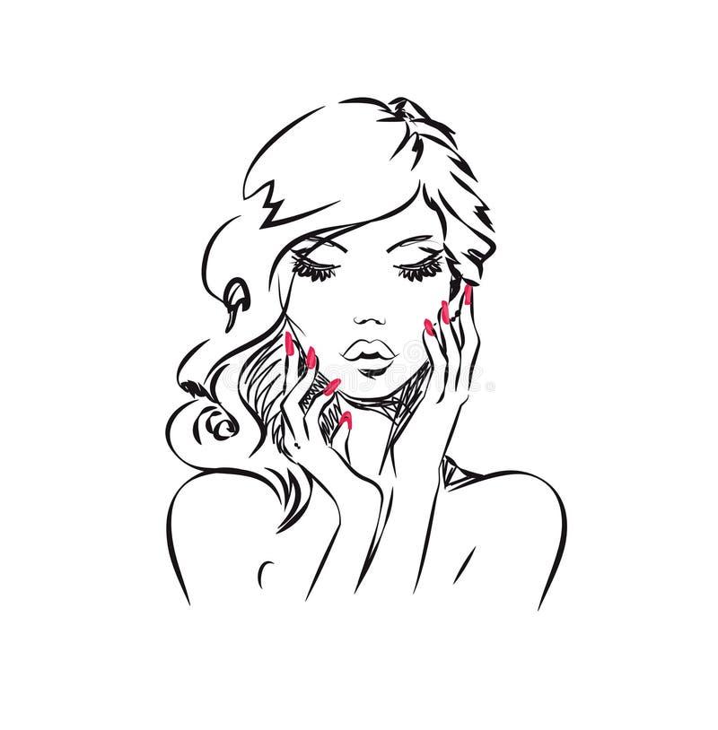 skönhet isolerad ståendewhite stock illustrationer
