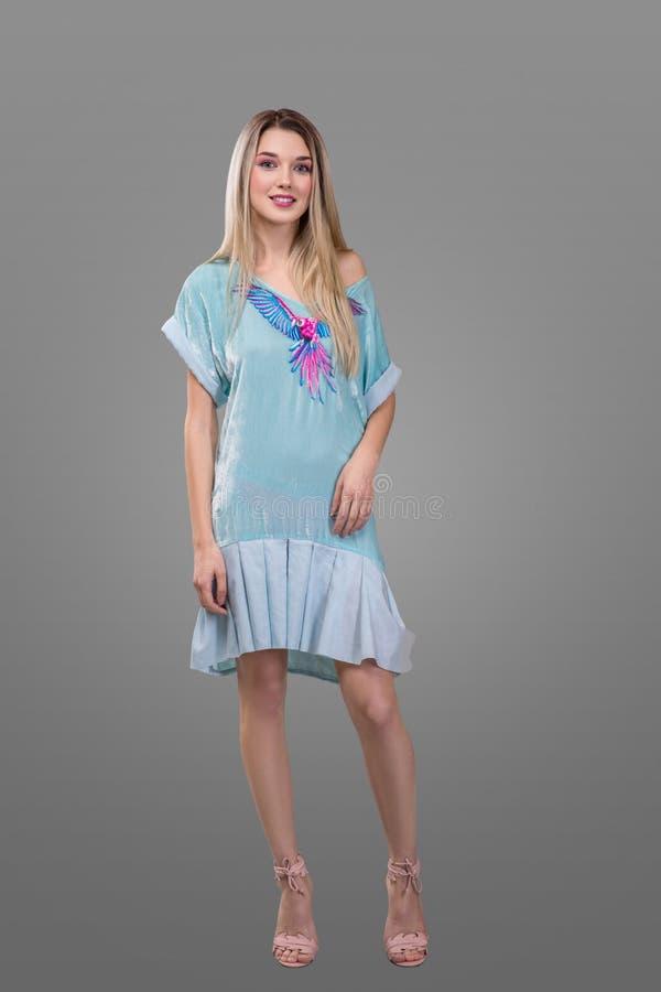 Skönhet, mode och lyckligt folkbegrepp - den unga kvinnan i blått klär med en papegoja och höga häl över grå bakgrund royaltyfri bild