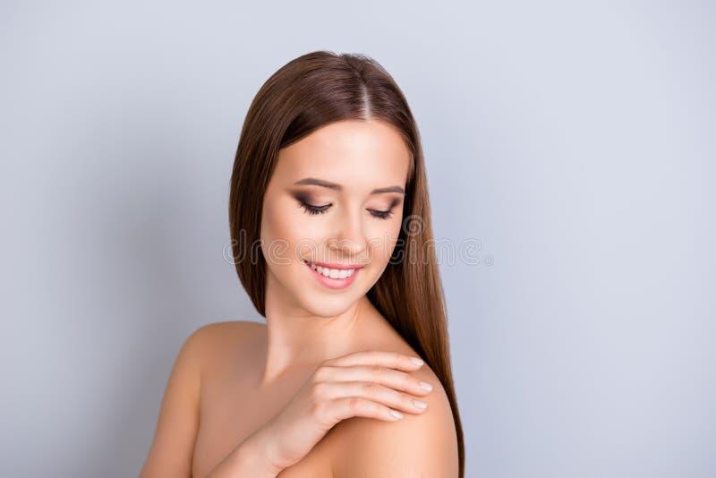 Skönhet och hälsa, dermatologibegrepp Cose upp kantjusterat foto av arkivbild