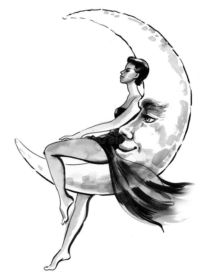 Skönhet och månen stock illustrationer