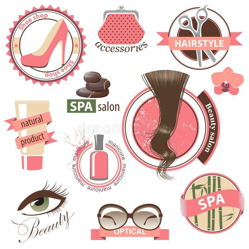 Skönhet- och modeemblem stock illustrationer