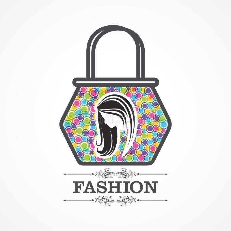 Skönhet och modesymbol med handväskan stock illustrationer