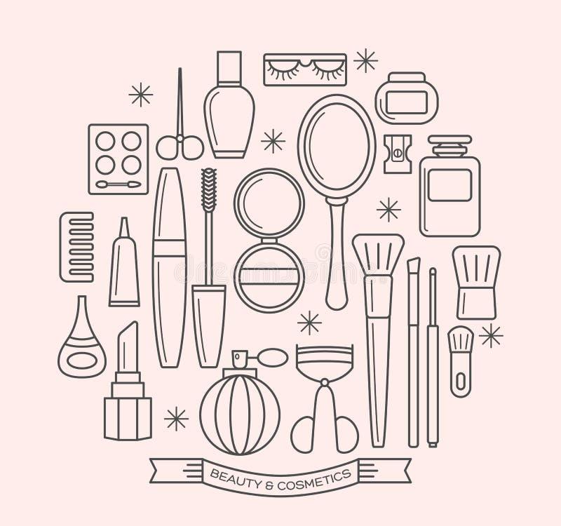 Skönhet och skönhetsmedel gör linjen översiktssymbolsuppsättning tunnare stock illustrationer