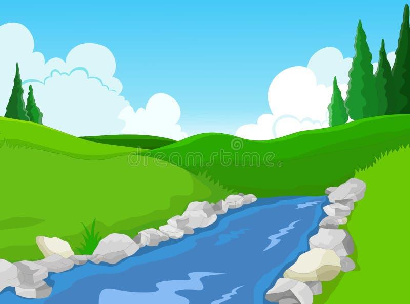 Skönhet sjö med landskapbakgrund royaltyfri illustrationer