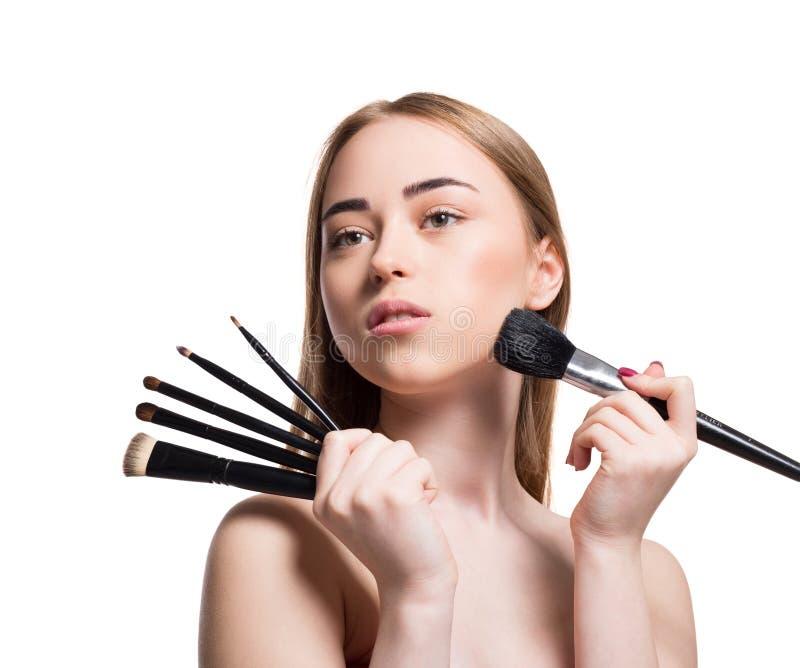 Annonsera Skönhetsmedel Kvinnaleende Med Rosa Läppstift I
