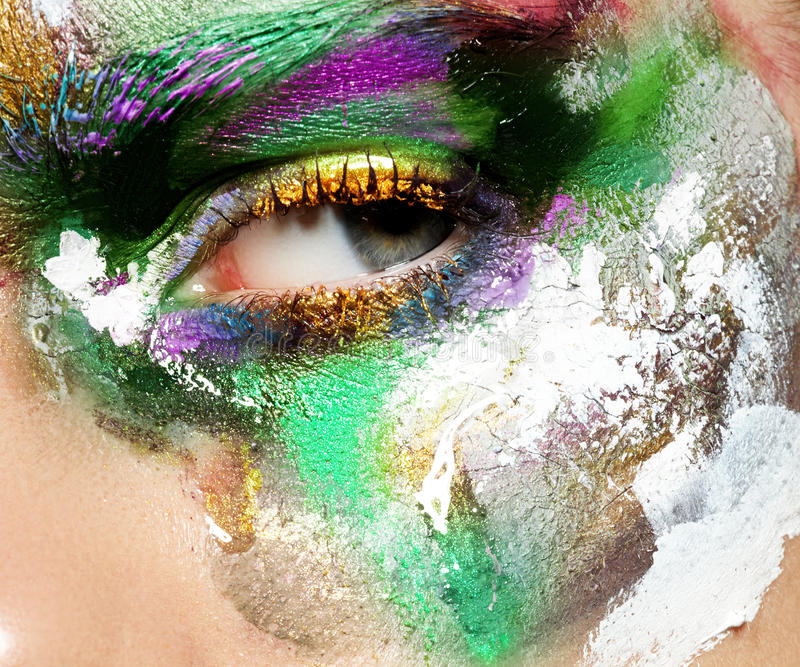 Skönhet, skönhetsmedel och makeup Ljust idérikt smink fotografering för bildbyråer