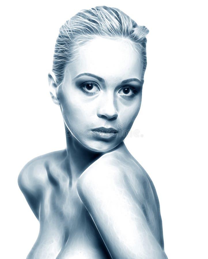 skönhet skissar kvinnan stock illustrationer
