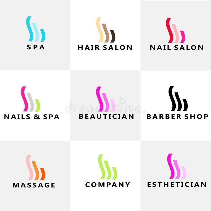 Skönhet Spa spikar modern logo för hår stock illustrationer
