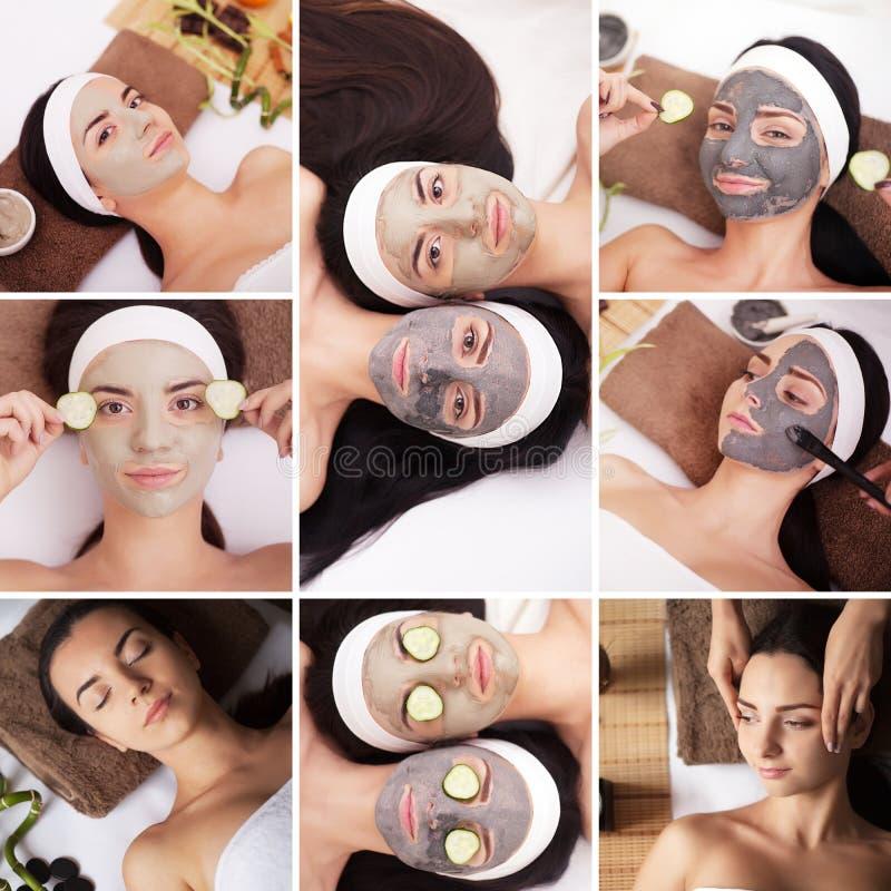 Skönhet, sund livsstil och avkopplingbegrepp - collage av många bilder med härliga unga kvinnor som har ansiktsbehandling- eller  arkivbilder