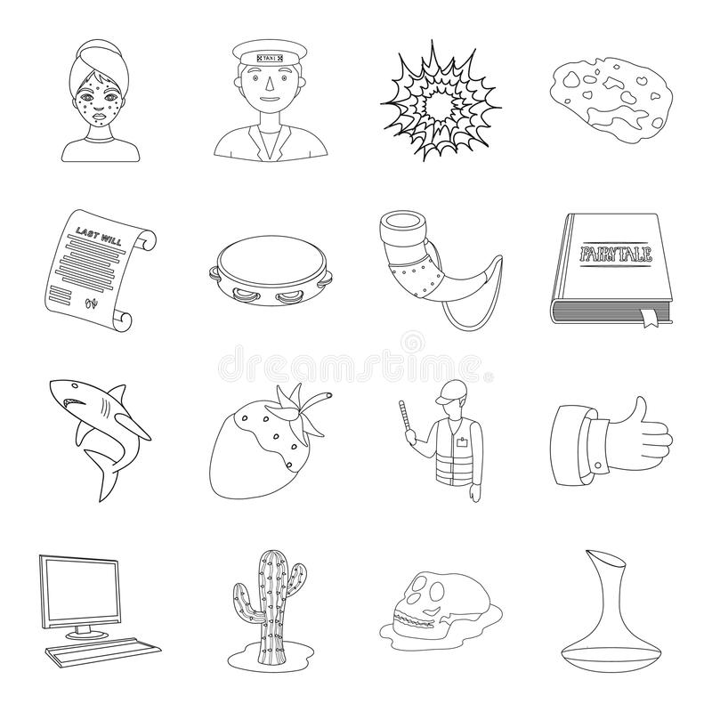 Skönhet, yrket, historia och annan rengöringsduksymbol i översikt utformar musik religion, teknologisymboler i uppsättningsamling vektor illustrationer