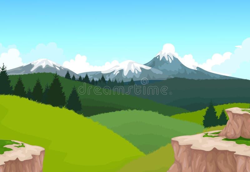 Skönhetberg med landskapbakground royaltyfri illustrationer