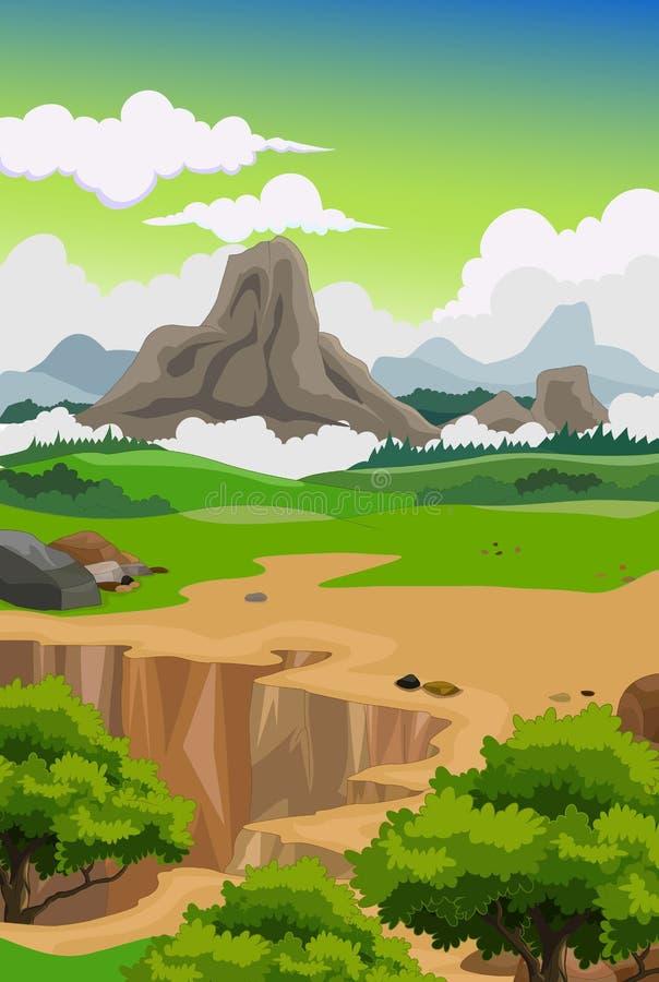Skönhetberg med landskapbakgrund vektor illustrationer