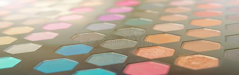 Skönhetblogg Kulör palett för smink för ögonskugga fotografering för bildbyråer