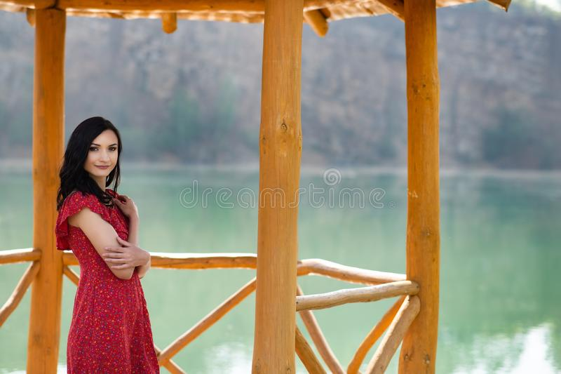 Skönhetbrunettkvinna i en röd klänning royaltyfri foto