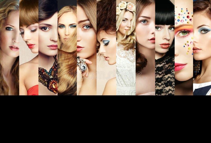 Skönhetcollage. Framsidor av kvinnor royaltyfri bild