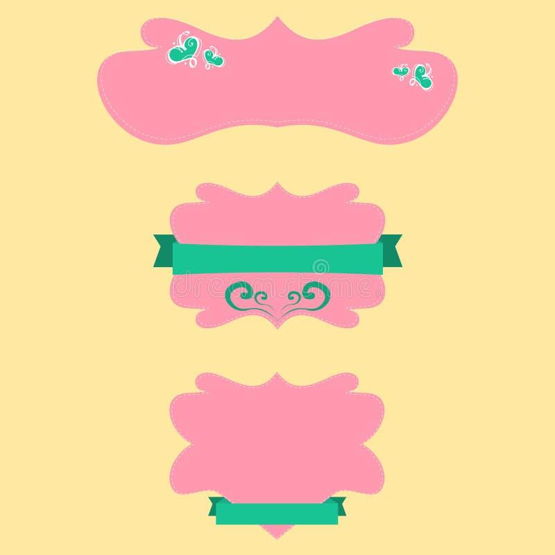 Skönhetetikettmall stock illustrationer