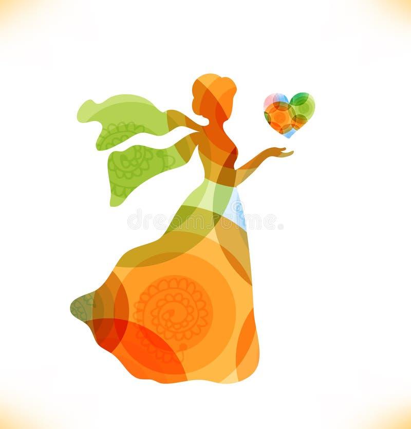 Skönhetfantasikvinna med hjärta vektor illustrationer
