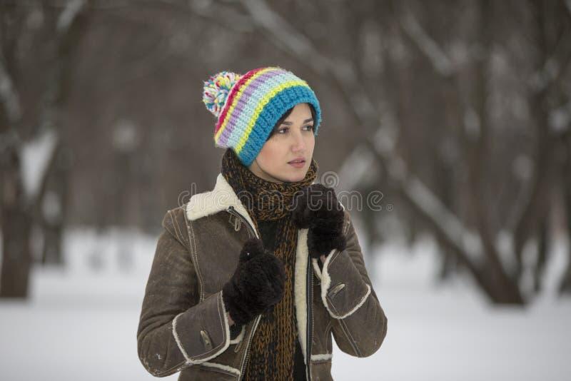 Skönhetflickan i frostig vinter parkerar utomhus Flygsnöflingor royaltyfria bilder