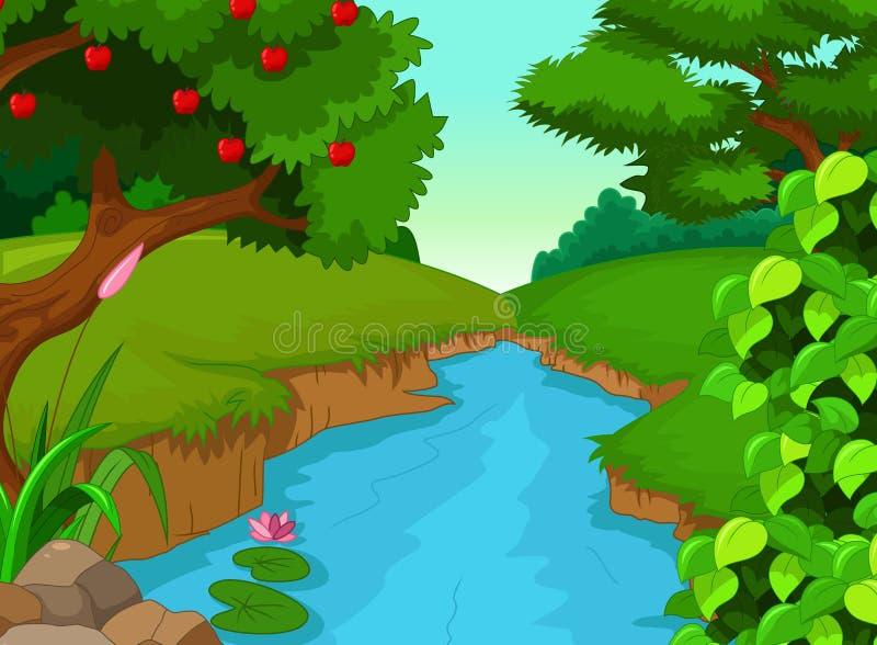 Skönhetflod med landskapsiktsbakgrund stock illustrationer