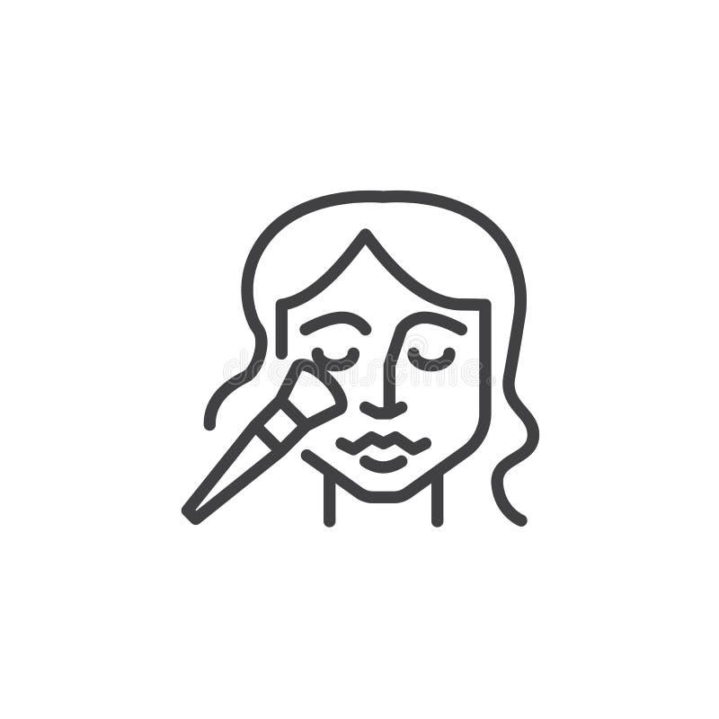 Skönhetframsidan som applicerar borstar, fodrar symbolen vektor illustrationer