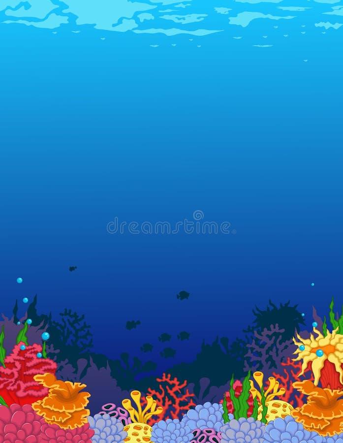 Skönhetkoraller med undervattens- siktsbakgrund stock illustrationer