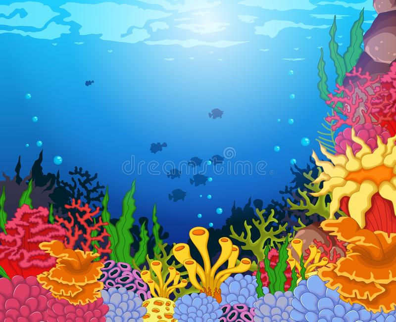 Skönhetkoraller med undervattens- siktsbakgrund vektor illustrationer