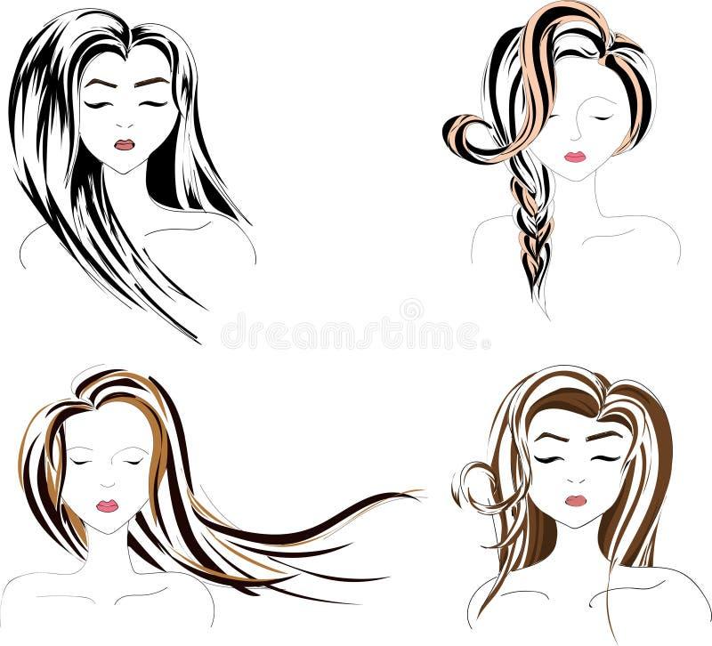 Skönhetkvinna i fyra varianter stock illustrationer