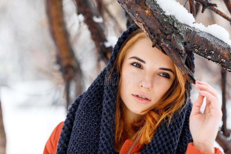 Skönhetkvinna i vinterlandskap arkivbilder