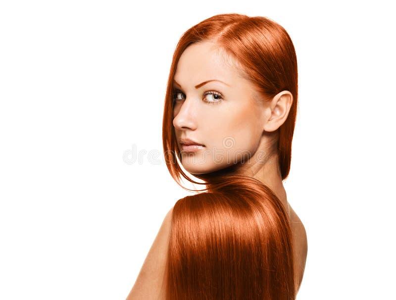 Skönhetkvinna. långt hår arkivbild