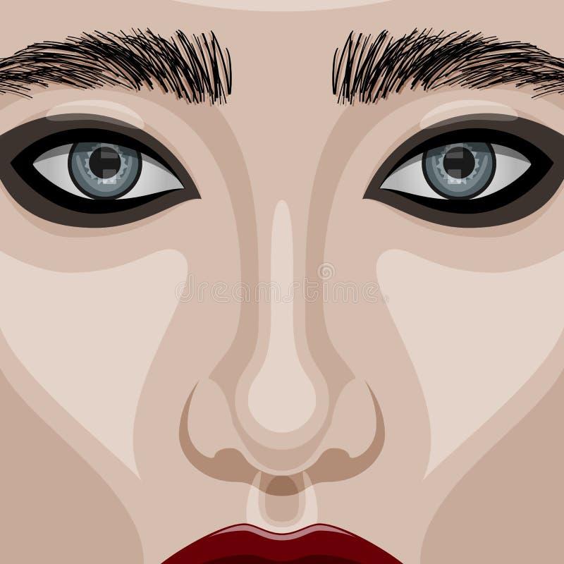 Skönhetkvinnaframsida med stora blåa ögon vektor illustrationer