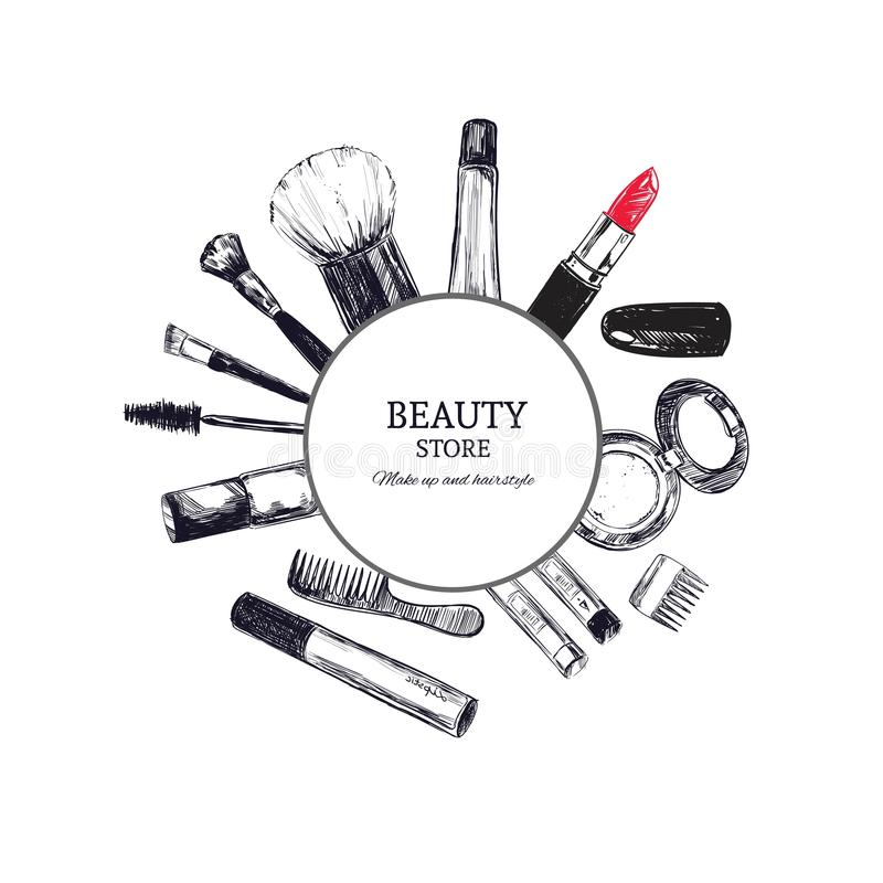 Skönhetlageremblem med typdesign och skönhetsmedel nailfile skönhet spikar den polerande salongen Sminkkonstnär vektor illustrationer