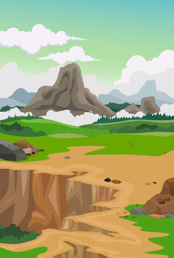 Skönhetlandskap med bergbakgrund vektor illustrationer