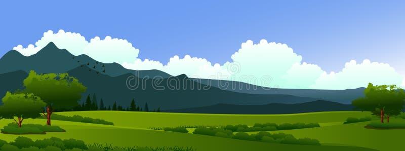 Skönhetlandskap med pinjeskog- och bergbakgrund vektor illustrationer