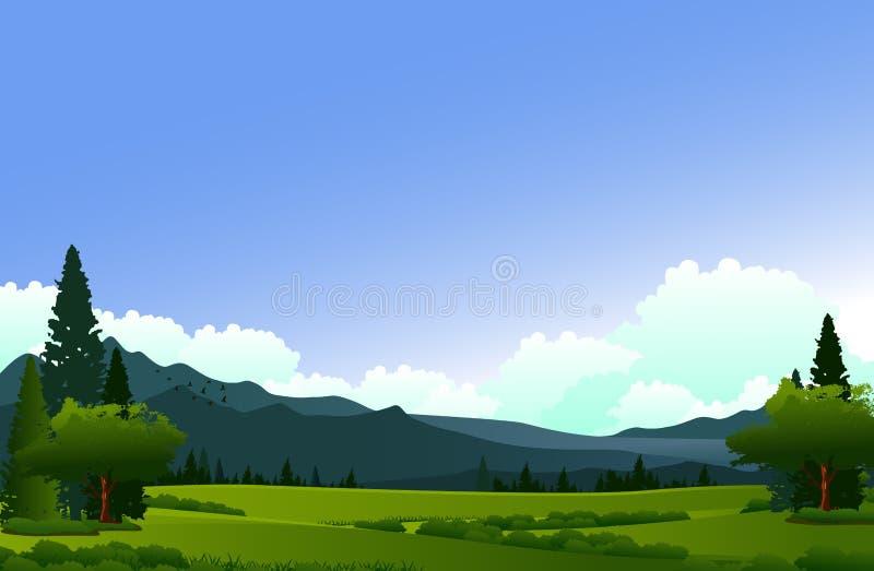 Skönhetlandskap med pinjeskog- och bergbakgrund royaltyfri illustrationer