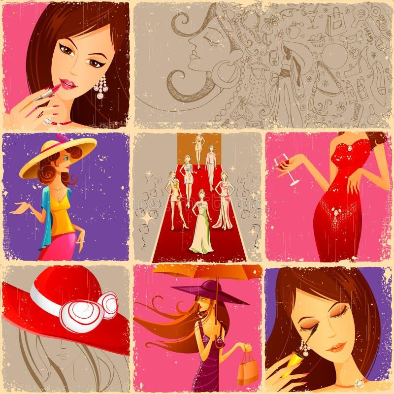 skönhetmode stock illustrationer