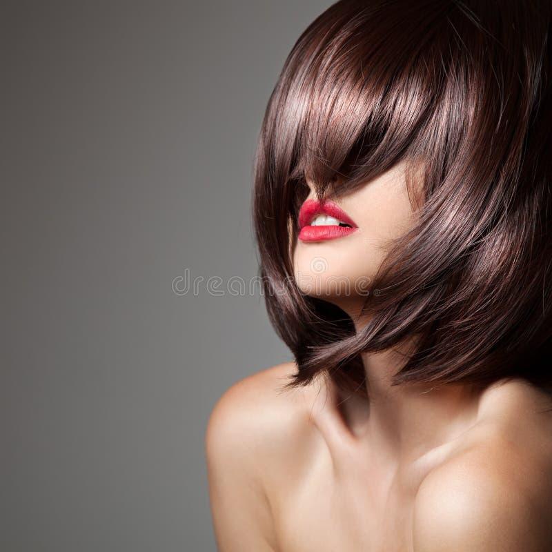 Skönhetmodell med perfekt långt glansigt brunt hår royaltyfria foton