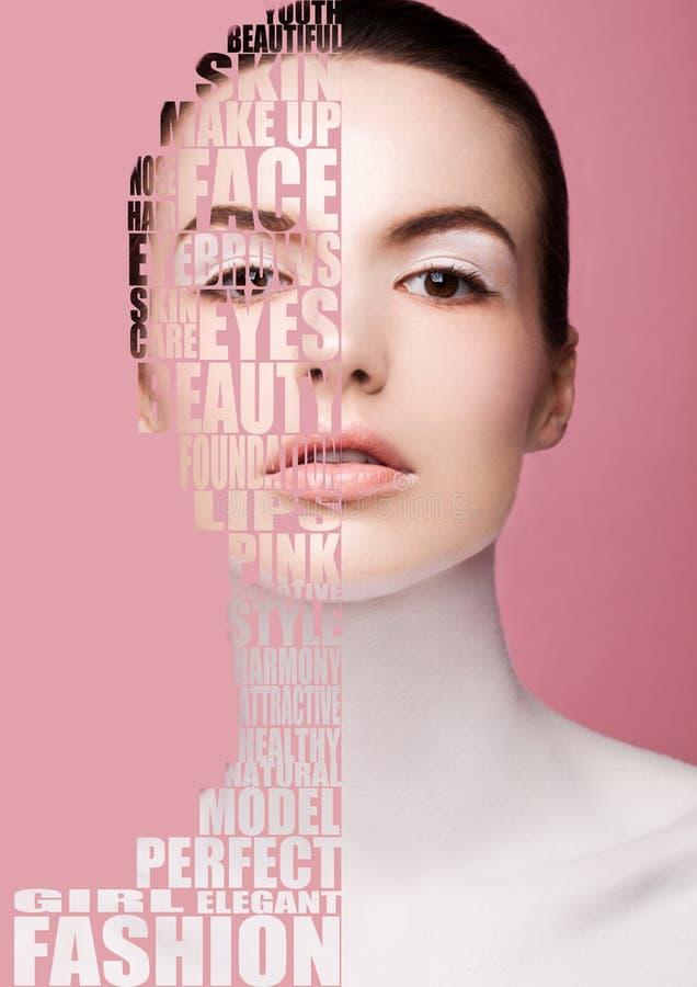 Skönhetmodemodell med vit hudmakeup arkivfoto