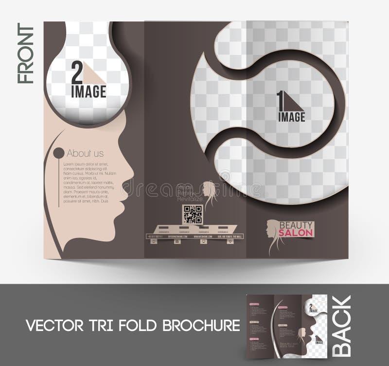 Skönhetomsorg & trifold broschyr för salong vektor illustrationer